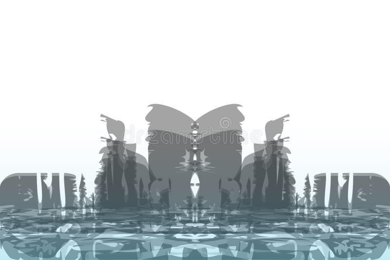 Αφηρημένο υπόβαθρο μιας μεγάλης πόλης Ύφος Grunge απεικόνιση αποθεμάτων