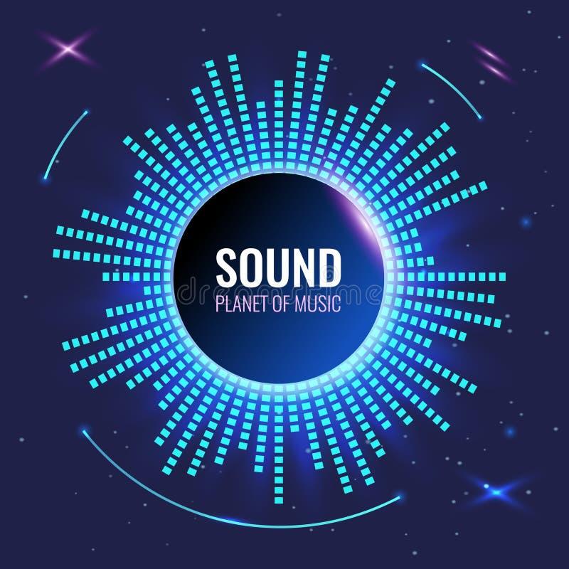 Αφηρημένο υπόβαθρο μουσικής Πλανήτης του ήχου Φωτεινός φουτουριστικός εξισωτής ελεύθερη απεικόνιση δικαιώματος