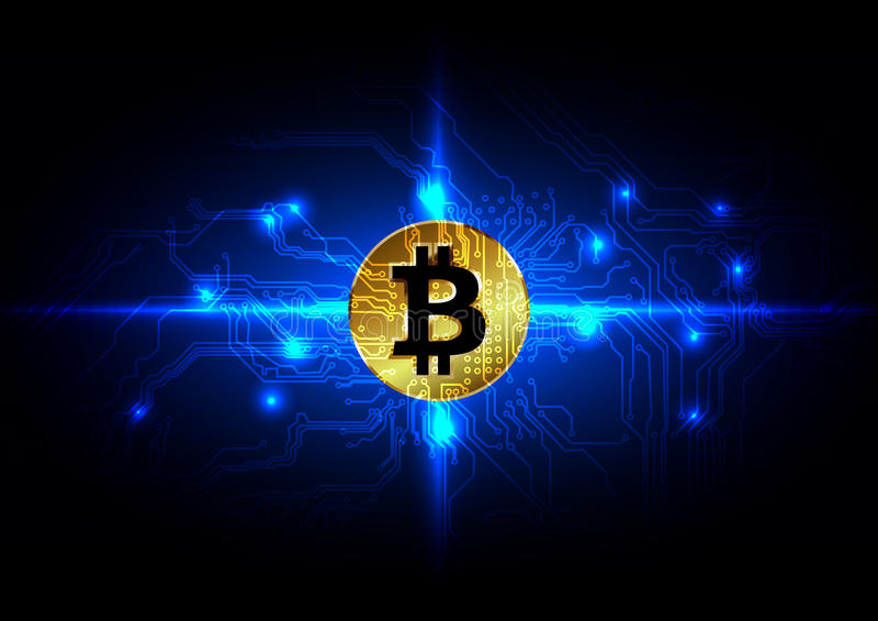 Αφηρημένο υπόβαθρο νομίσματος bitcoin ψηφιακό, φουτουριστικός ψηφιακός απεικόνιση αποθεμάτων