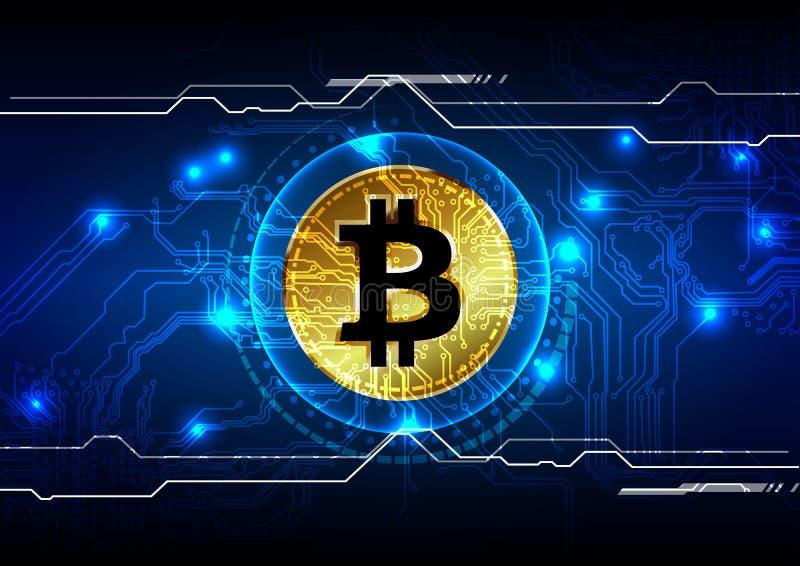 Αφηρημένο υπόβαθρο νομίσματος bitcoin ψηφιακό, φουτουριστικός ψηφιακός ελεύθερη απεικόνιση δικαιώματος