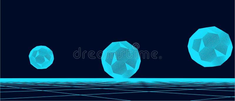 Αφηρημένο υπόβαθρο πλαισίων Απεικόνιση πλέγματος τεχνολογίας με τις σφαίρες στοκ εικόνες με δικαίωμα ελεύθερης χρήσης