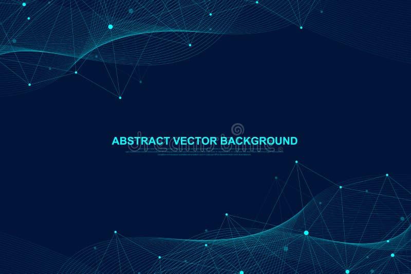 Αφηρημένο υπόβαθρο πλεγμάτων με τις συνδεδεμένα γραμμές και τα σημεία Μεγάλα στοιχεία επίδρασης πλεγμάτων γεωμετρικά με τις ενώσε απεικόνιση αποθεμάτων