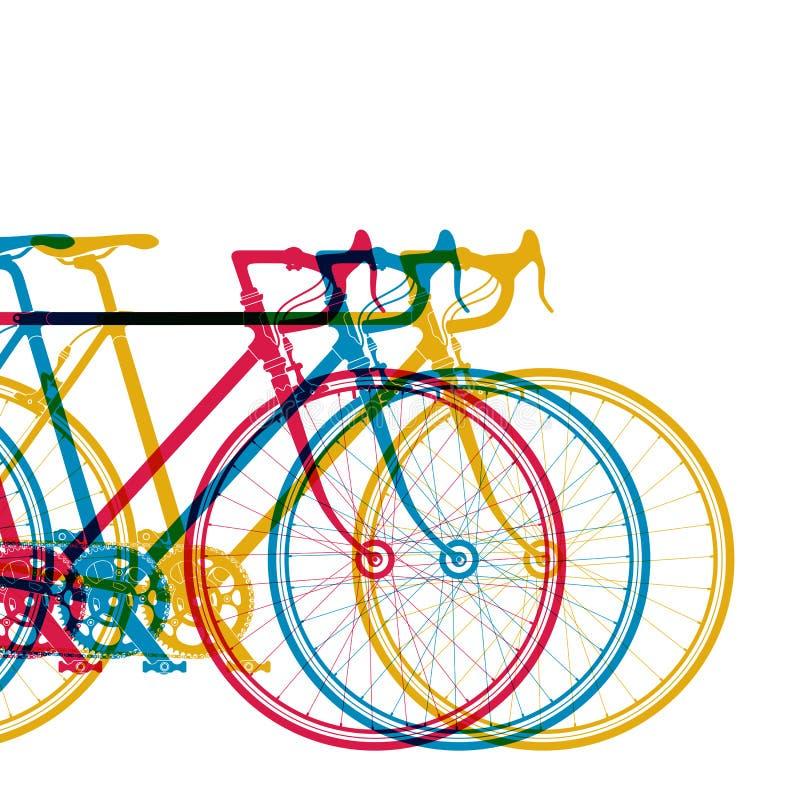 Αφηρημένο υπόβαθρο 3 ποδήλατα στα διαφορετικά χρώματα στην άσπρη, διανυσματική απεικόνιση για το σχέδιό σας απεικόνιση αποθεμάτων