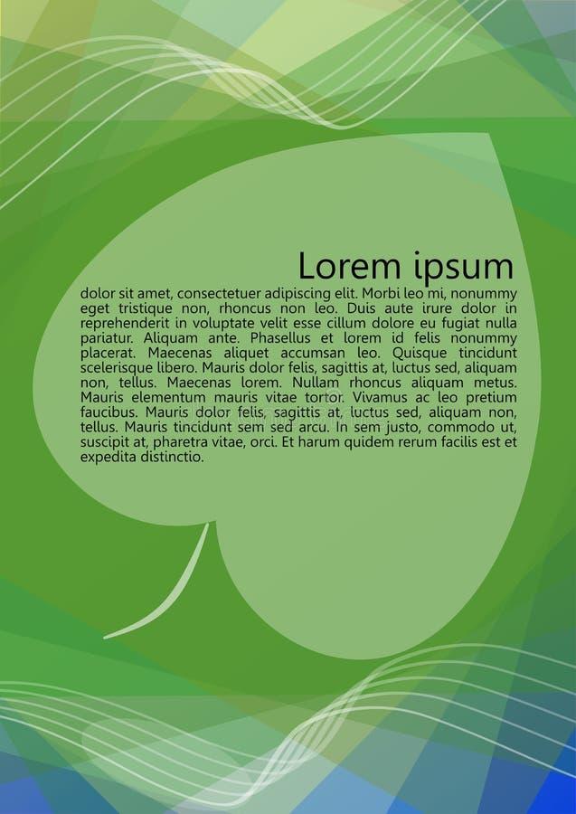 Αφηρημένο υπόβαθρο στο πράσινο και μπλε σχέδιο, σκιαγραφία φύλλων με τη θέση για το μήνυμα, επικαλύπτοντας μορφές, διαφανείς διανυσματική απεικόνιση