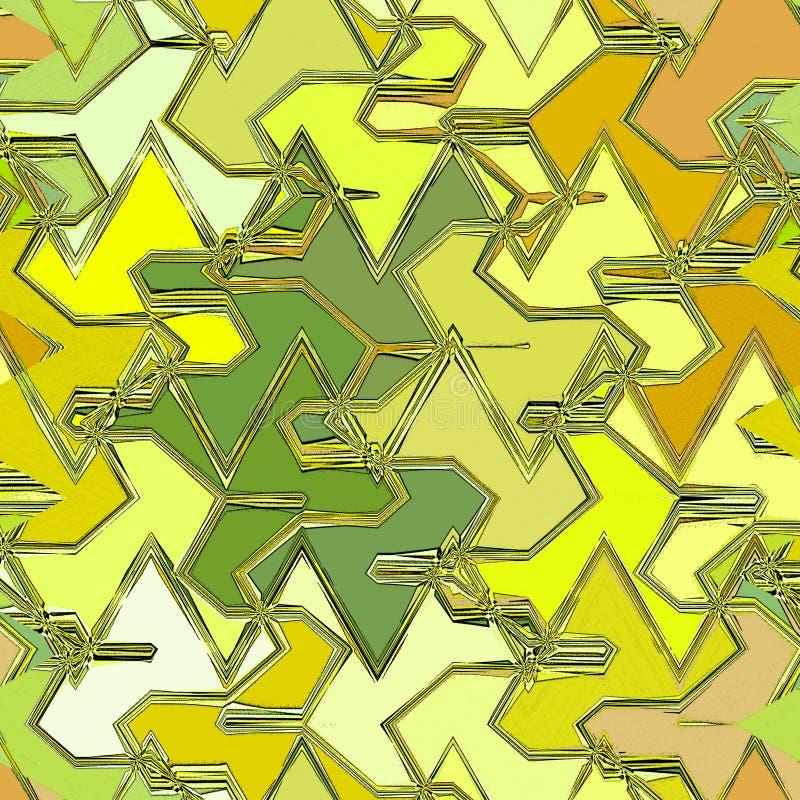 Αφηρημένο υπόβαθρο σχεδίων λωρίδων τρεκλίσματος σε κίτρινο, την ελιά και ocher απεικόνιση αποθεμάτων