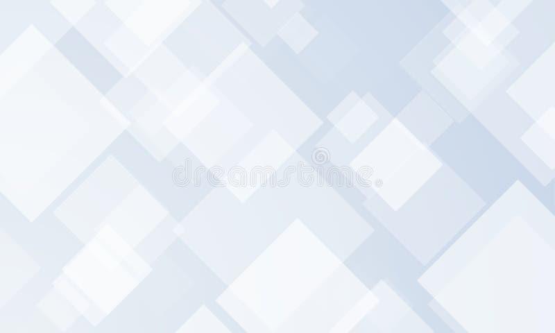 Αφηρημένο υπόβαθρο σχεδίων με το διανυσματικό σύγχρονο γεωμετρικό διαφανές μπλε, γκρίζο και άσπρο τετραγωνικό σχέδιο απεικόνιση αποθεμάτων