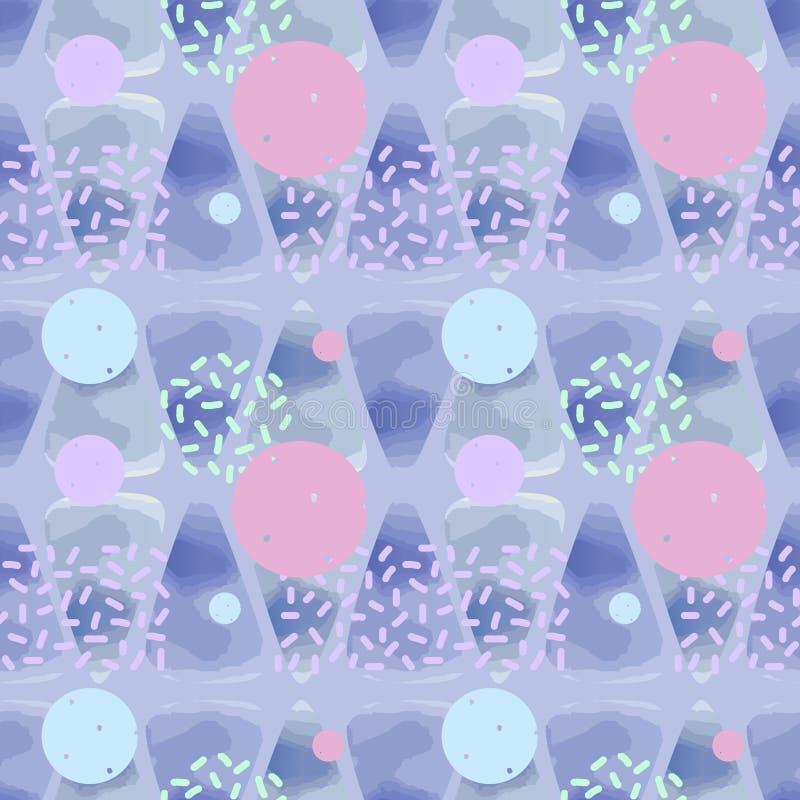 Αφηρημένο υπόβαθρο σχεδίων Watercolors με τριγώνων διανυσματική απεικόνιση χρωμάτων κρητιδογραφιών τη φωτεινή για τη μόδα και την ελεύθερη απεικόνιση δικαιώματος