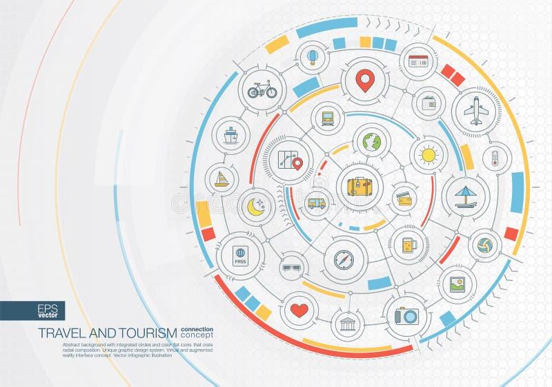 Αφηρημένο υπόβαθρο ταξιδιού και τουρισμού Ψηφιακός συνδέστε το σύστημα με τους ενσωματωμένους κύκλους, επίπεδα εικονίδια χρώματος ελεύθερη απεικόνιση δικαιώματος