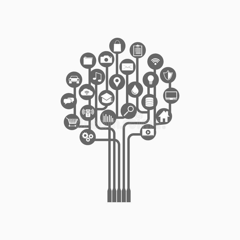 Αφηρημένο υπόβαθρο τεχνολογίας δέντρων Συνδετικότητα concep ελεύθερη απεικόνιση δικαιώματος