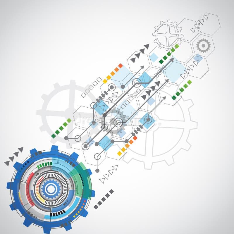 Αφηρημένο υπόβαθρο τεχνολογίας με τα διάφορα τεχνολογικά στοιχεία διανυσματική απεικόνιση