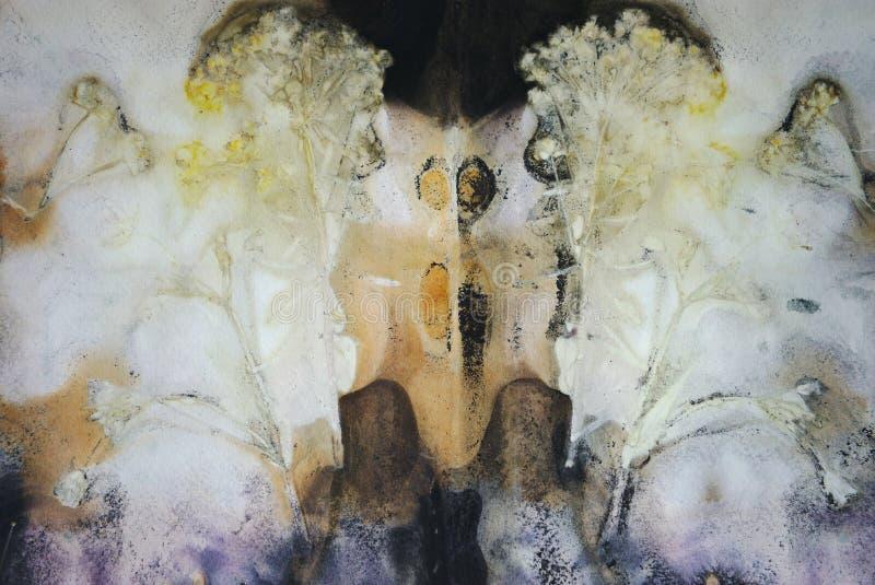 Αφηρημένο υπόβαθρο, τυπωμένη ύλη των φύλλων και των λουλουδιών σε χαρτί ελεύθερη απεικόνιση δικαιώματος