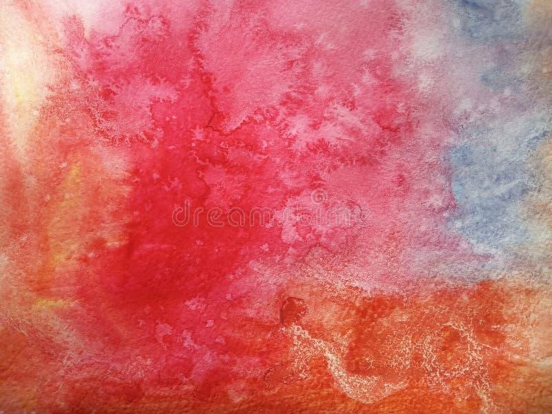 Αφηρημένο υπόβαθρο των ζωηρόχρωμων λεκέδων watercolor και μουτζουρωμένα χρώματα πορτοκαλής και μπλε Χειροποίητος σε χαρτί στοκ φωτογραφία με δικαίωμα ελεύθερης χρήσης