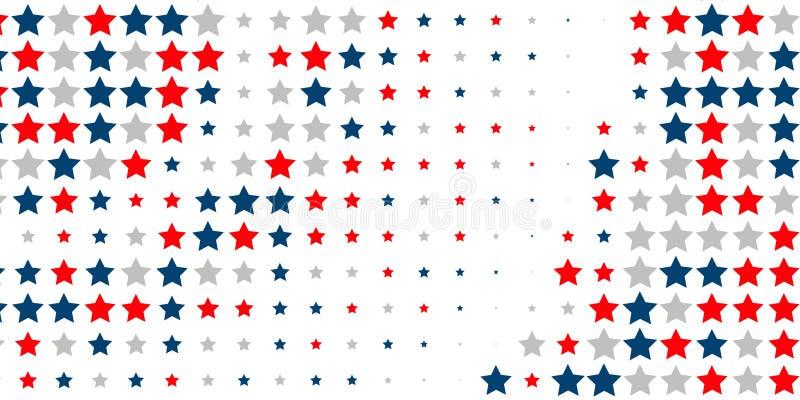 Αφηρημένο υπόβαθρο των κόκκινων, μπλε, άσπρων αστεριών ελεύθερη απεικόνιση δικαιώματος