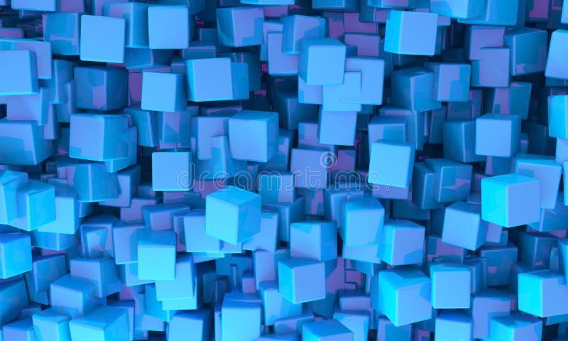 Αφηρημένο υπόβαθρο των τρισδιάστατων μπλε κύβων διανυσματική απεικόνιση