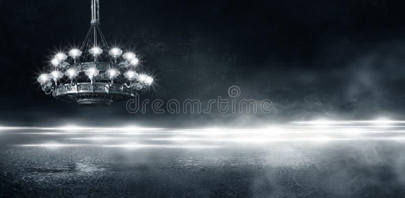 Αφηρημένο, αφηρημένο υπόβαθρο υποβάθρου, καπνός, αιθαλομίχλη Σκοτεινό δωμάτιο άποψης νύχτας, δωμάτιο, διάδρομος με πολύ φως στοκ φωτογραφία