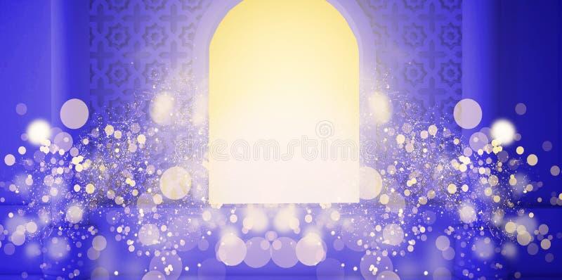 Αφηρημένο υπόβαθρο φρούτων, pineappleEastern δωμάτιο, ανοικτό παράθυρο, φως του ήλιου και μαγικές ακτίνες τρισδιάστατη απόδοση διανυσματική απεικόνιση