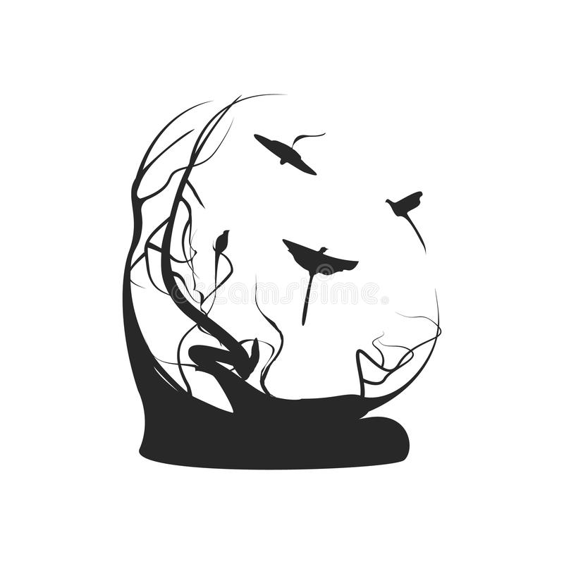 Αφηρημένο υπόβαθρο φύσης με τα πουλιά και το δέντρο, σε γραπτό απεικόνιση αποθεμάτων