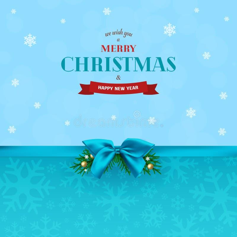 Αφηρημένο υπόβαθρο Χριστουγέννων με την μπλε κορδέλλα και το τόξο Κλάδοι του FIR με τις σφαίρες και snowflakes Χριστουγέννων ελεύθερη απεικόνιση δικαιώματος