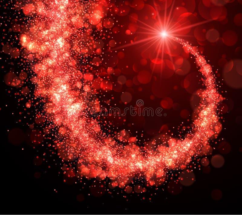 Αφηρημένο υπόβαθρο Χριστουγέννων με τον κόκκινο στρόβιλο διανυσματική απεικόνιση