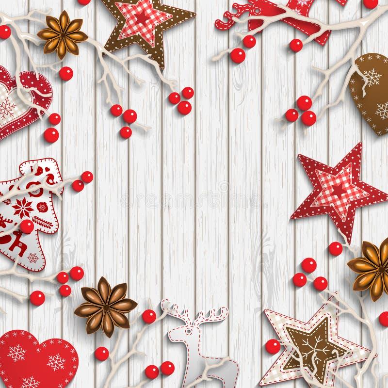 Αφηρημένο υπόβαθρο Χριστουγέννων, ξηροί κλάδοι με τα κόκκινα μούρα και μικρές Σκανδιναβικές ορισμένες διακοσμήσεις ελεύθερη απεικόνιση δικαιώματος