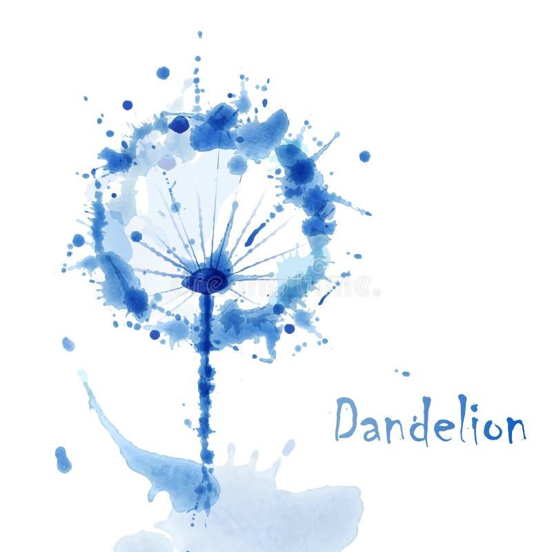 Αφηρημένο υπόβαθρο χρωμάτων χεριών τέχνης Watercolor με το λουλούδι dandel διανυσματική απεικόνιση