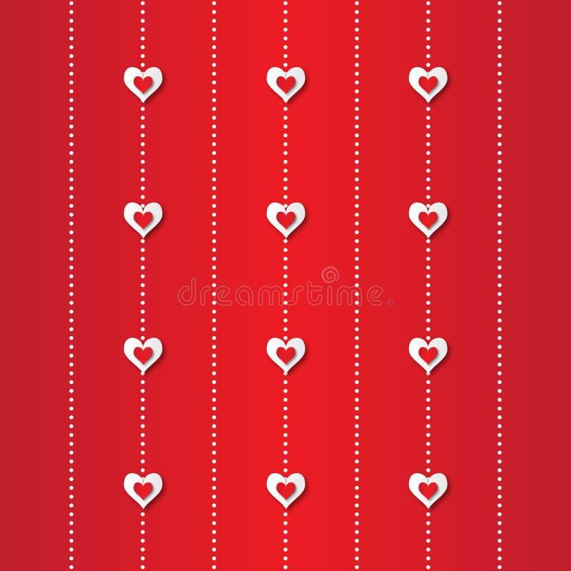 Αφηρημένο υπόβαθρο applique ημέρας βαλεντίνου με τις καρδιές της κόκκινης και Λευκής Βίβλου περικοπών απεικόνιση αποθεμάτων