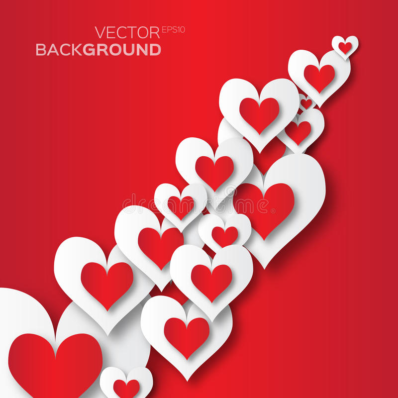 Αφηρημένο υπόβαθρο applique ημέρας βαλεντίνου με τις καρδιές της κόκκινης και Λευκής Βίβλου περικοπών ελεύθερη απεικόνιση δικαιώματος