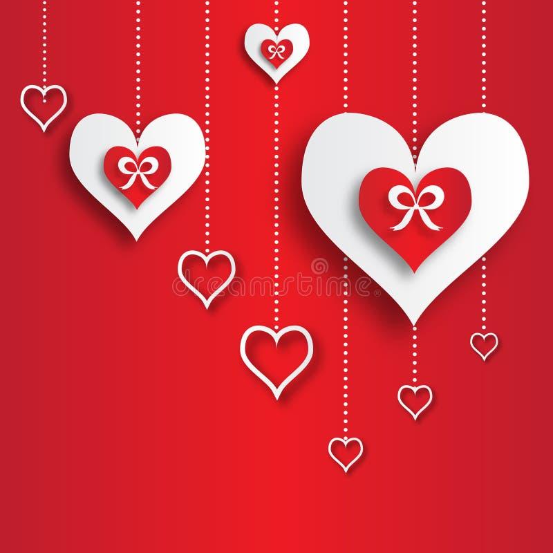 Αφηρημένο υπόβαθρο applique ημέρας βαλεντίνου με τις καρδιές της κόκκινης και Λευκής Βίβλου περικοπών με το τόξο κορδελλών διανυσματική απεικόνιση