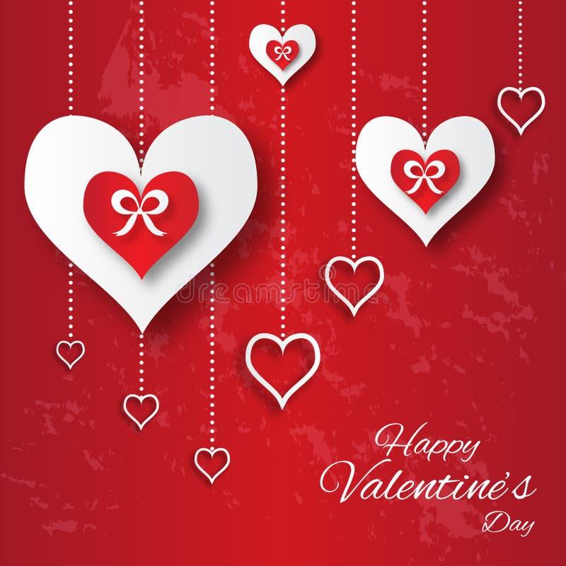 Αφηρημένο υπόβαθρο applique ημέρας βαλεντίνου με τις καρδιές της κόκκινης και Λευκής Βίβλου περικοπών διανυσματική απεικόνιση