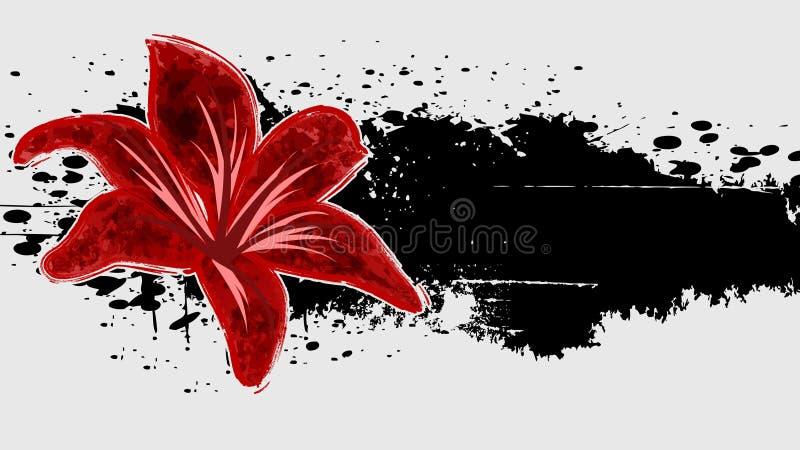 Αφηρημένο υπόβαθρο grunge με το κόκκινο λουλούδι. απεικόνιση αποθεμάτων