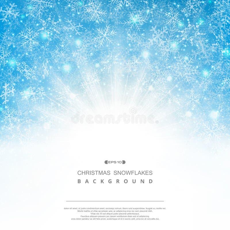 Αφηρημένο υπόβαθρο snowflakes Χριστουγέννων μπλε ουρανού του ανεμιστήρα σχεδίων ελεύθερη απεικόνιση δικαιώματος