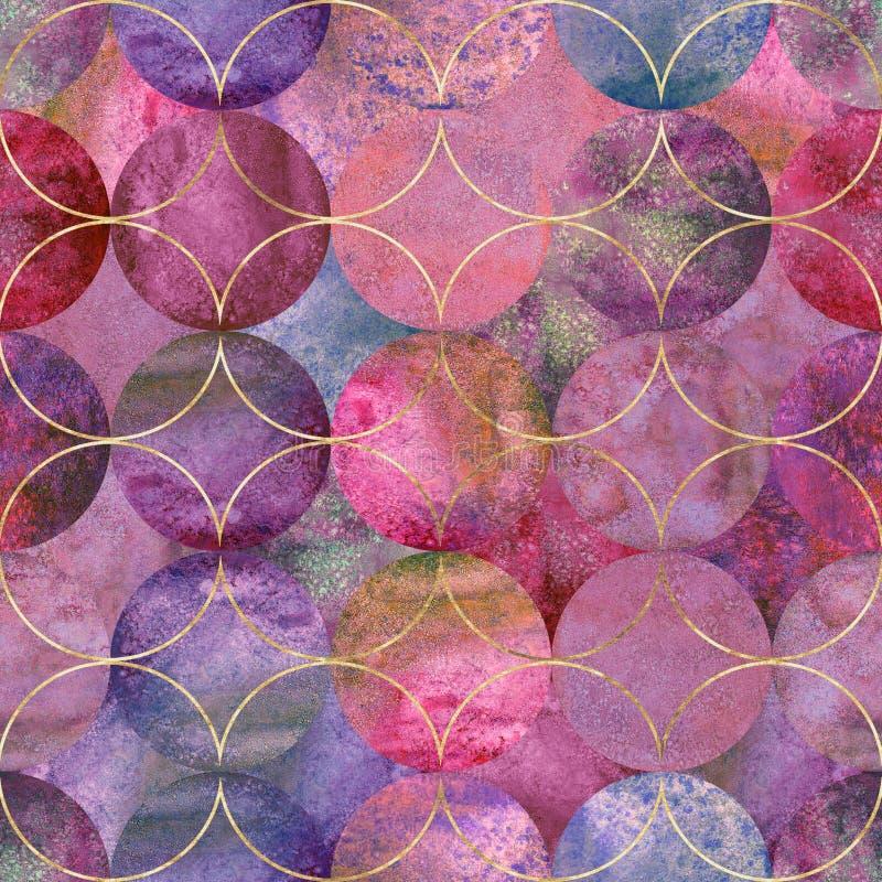 Αφηρημένο υπόβαθρο watercolor με τους ζωηρόχρωμους κύκλους χρώματος Συρμένο χέρι άνευ ραφής σχέδιο Watercolor διανυσματική απεικόνιση
