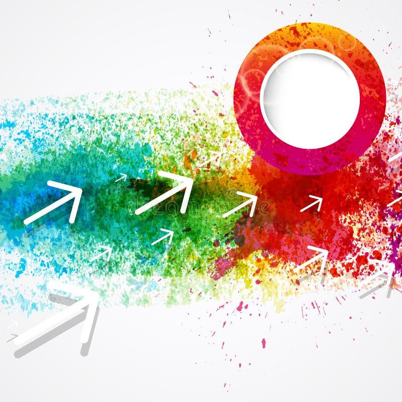 Αφηρημένο υπόβαθρο watercolor ουράνιων τόξων με τα βέλη και το σχέδιο παφλασμών χρωμάτων ελεύθερη απεικόνιση δικαιώματος