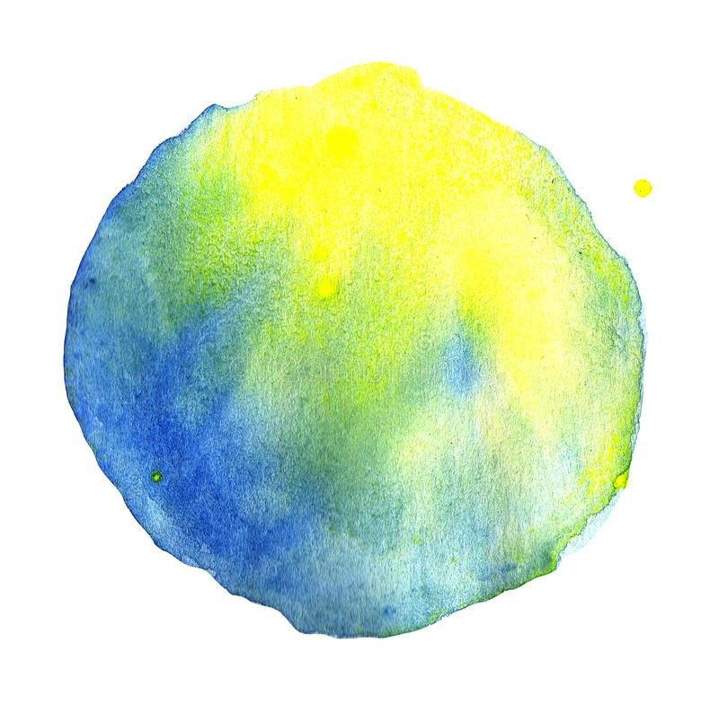 Αφηρημένο υπόβαθρο watercolor σημείων κιτρινοπράσινο και μπλε κλίση χρώματος ελεύθερη απεικόνιση δικαιώματος