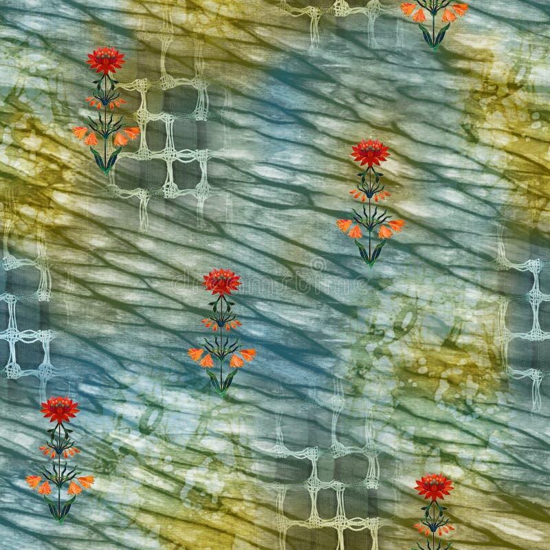 Αφηρημένο υφαντικό σχέδιο δεσμός-χρωστικών ουσιών μπατίκ - απεικόνιση διανυσματική απεικόνιση