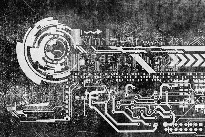 Αφηρημένο φουτουριστικό βιομηχανικό εκλεκτής ποιότητας υπόβαθρο cyber grunge Σχεδιάγραμμα στην παλαιά βρώμικη επιφάνεια Φουτουρισ απεικόνιση αποθεμάτων