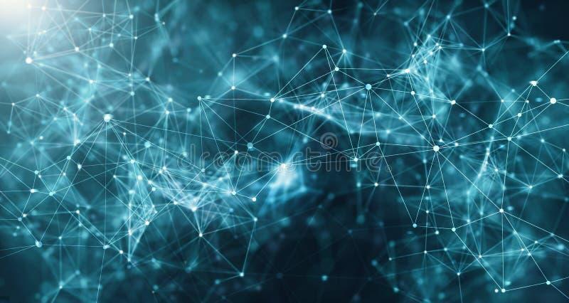 Αφηρημένο φουτουριστικό δίκτυο τεχνολογίας με polygonal διανυσματική απεικόνιση