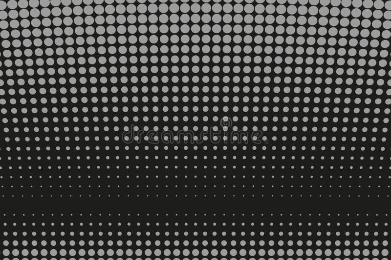 Αφηρημένο φουτουριστικό ημίτονο σχέδιο Κωμικό υπόβαθρο Διαστιγμένο σκηνικό με τους κύκλους, σημεία, μεγάλη κλίμακα σημείου μαύρο, διανυσματική απεικόνιση