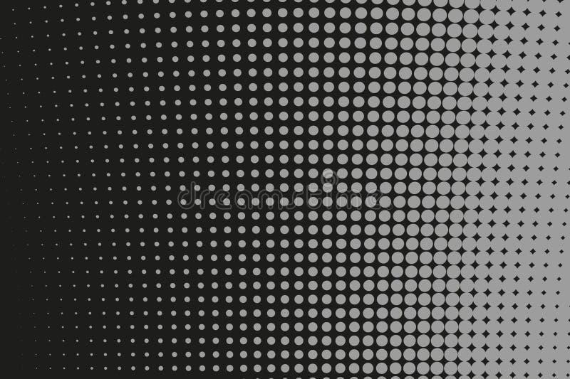 Αφηρημένο φουτουριστικό ημίτονο σχέδιο Κωμικό υπόβαθρο Διαστιγμένο σκηνικό με τους κύκλους, σημεία, μεγάλη κλίμακα σημείου μαύρο, απεικόνιση αποθεμάτων