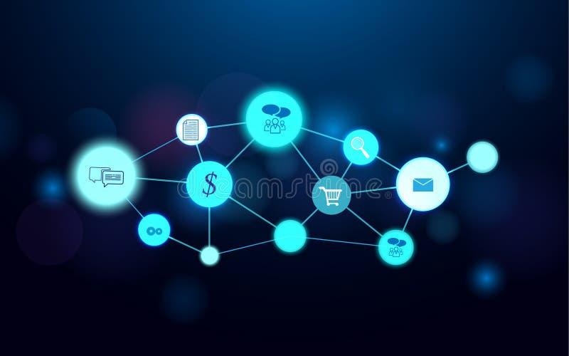 Αφηρημένο φουτουριστικό υπόβαθρο έννοιας τεχνολογίας σύνδεσης γραμμών μορίων και επιχειρησιακών εικονιδίων ελεύθερη απεικόνιση δικαιώματος