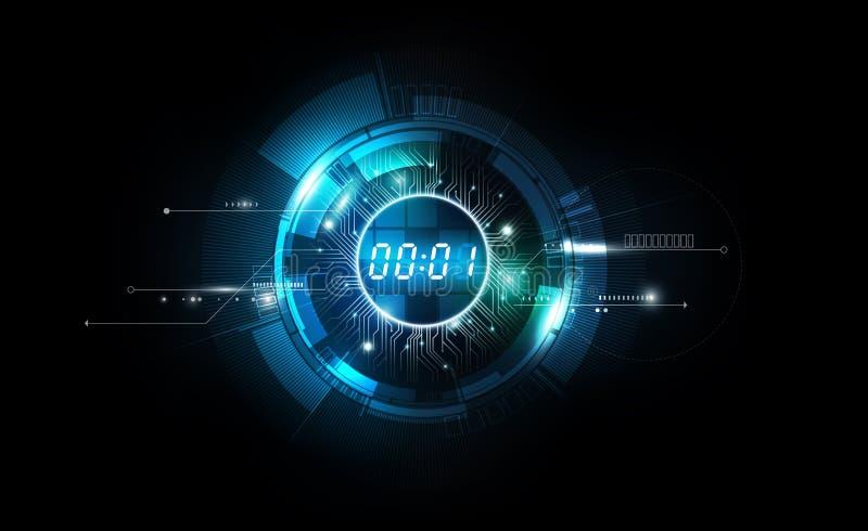 Αφηρημένο φουτουριστικό υπόβαθρο τεχνολογίας με την ψηφιακές έννοια χρονομέτρων αριθμού και την αντίστροφη μέτρηση, διανυσματική  ελεύθερη απεικόνιση δικαιώματος