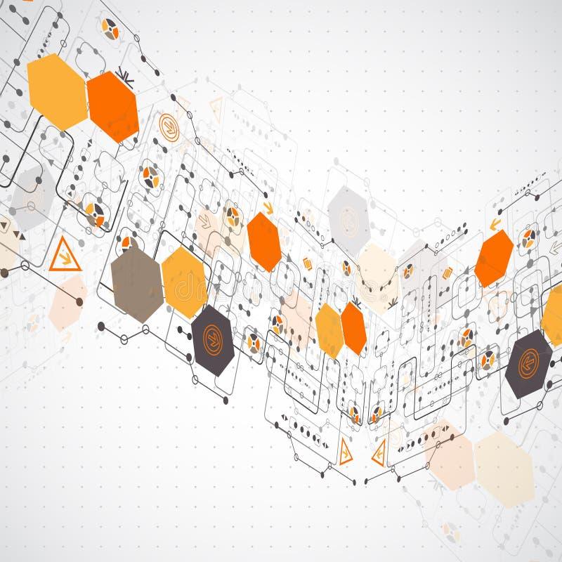 Αφηρημένο φουτουριστικό υπόβαθρο τεχνολογίας υπολογιστών ελεύθερη απεικόνιση δικαιώματος
