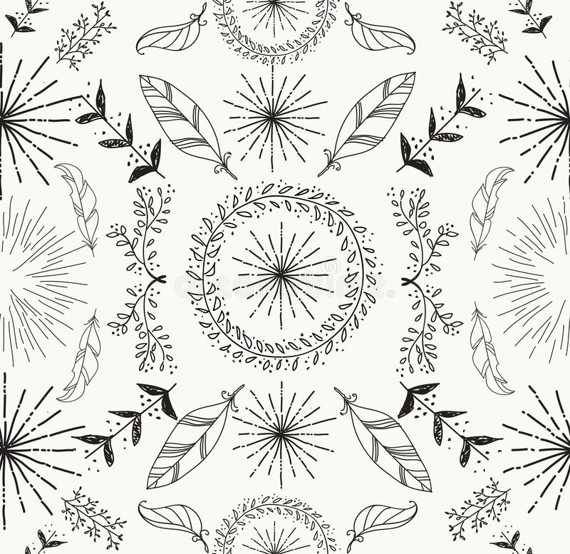 Αφηρημένο φτερό και floral άνευ ραφής σχέδιο διανυσματική απεικόνιση