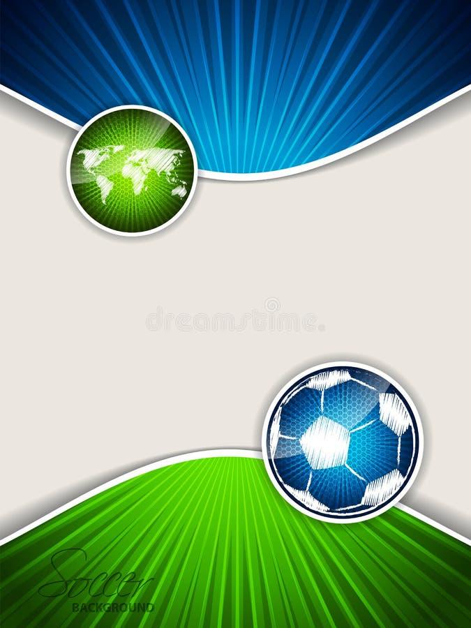 Αφηρημένο φυλλάδιο ποδοσφαίρου με την μπλε σφαίρα και τον πράσινο χάρτη ελεύθερη απεικόνιση δικαιώματος
