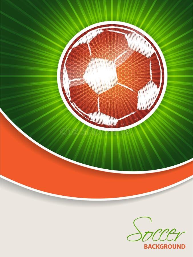 Αφηρημένο φυλλάδιο ποδοσφαίρου με την πορτοκαλιά σφαίρα διανυσματική απεικόνιση