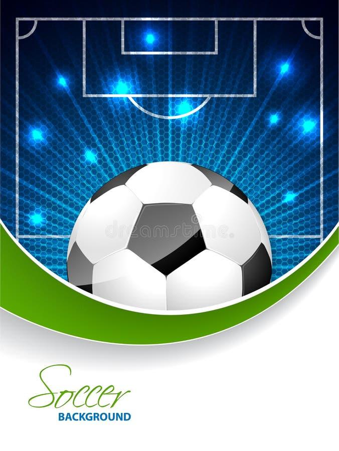 Αφηρημένο φυλλάδιο ποδοσφαίρου με τη σφαίρα και διάστημα για το κείμενο απεικόνιση αποθεμάτων