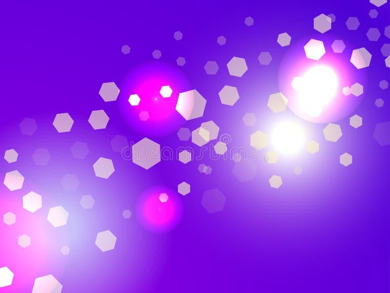 αφηρημένο φως ανασκόπησης Επίδραση Bokeh Hexagons στην ιώδη κλίση διάνυσμα απεικόνιση αποθεμάτων