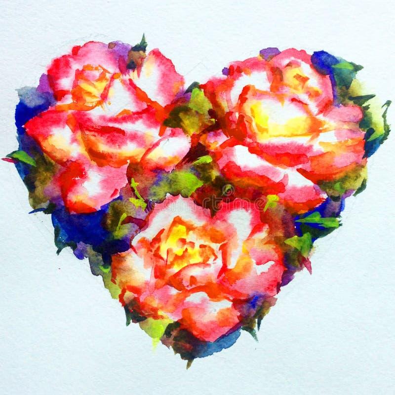 Αφηρημένο φωτεινό ζωηρόχρωμο της υφής υπόβαθρο Watercolor χειροποίητο Ζωγραφική της ροδαλής καρδιάς λουλουδιών ελεύθερη απεικόνιση δικαιώματος