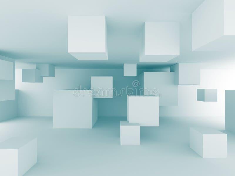 Αφηρημένο χαοτικό υπόβαθρο σχεδίου κατασκευής κύβων ελεύθερη απεικόνιση δικαιώματος