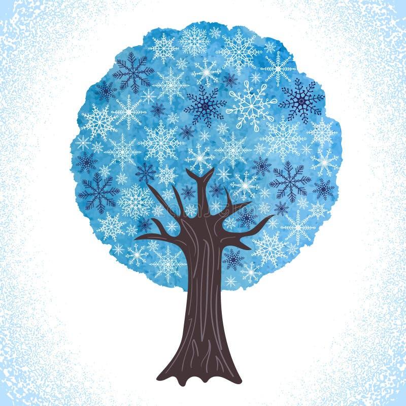 Αφηρημένο χειμερινό δέντρο watercolor με snowflakes όπως φύλλα ελεύθερη απεικόνιση δικαιώματος